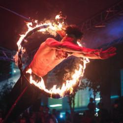 axel louis, fire circle, stunt performer, jump, mauritius, mauritian artist